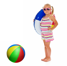 Phoenix pool tile cleaning little girl with beach ball